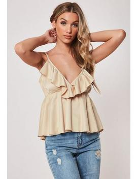 Champagne Satin Frill Plunge Cami Top by Missguided