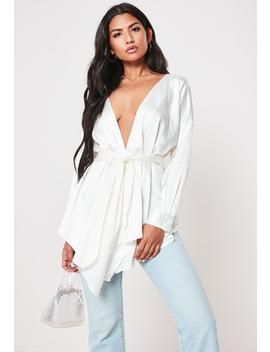 Ivory Satin Plunge Neck Tie Waist Blouse by Missguided