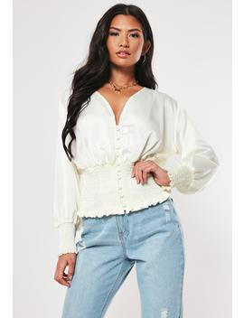 White Shirred Waist Satin Blouse by Missguided