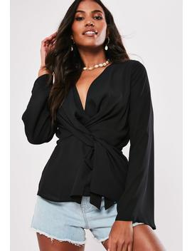 Black Wrap Tie Knot Blouse by Missguided