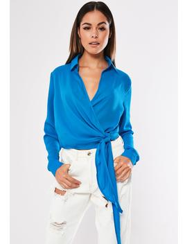 Blue Tie Side Blouse by Missguided