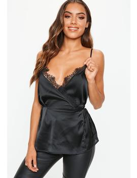 Black Lace Trim Cami Top by Missguided