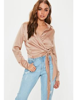 Bronze Satin Tie Side Blouse by Missguided