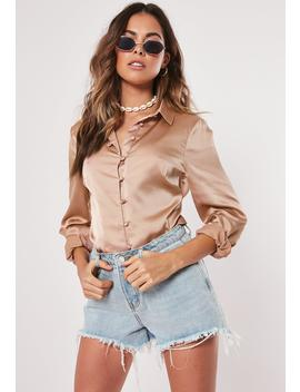 Brown Satin Shirt by Missguided