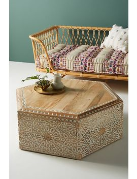 Handcarved Hexagonal Coffee Table by Anthropologie