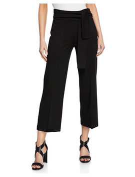 Cropped Sash Tie Wide Leg Pants by Neiman Marcus