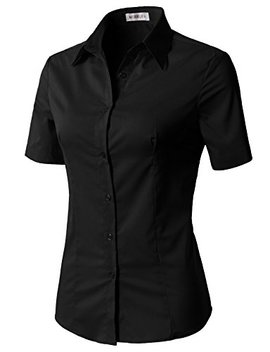 Clovery Women's Basic Simple Short Sleeve Trendy Slim Fit Button Down Shirt by Clovery