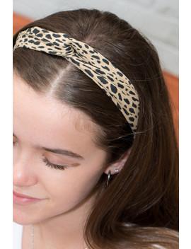 Leopard Print Knot Headband by Brandy Melville