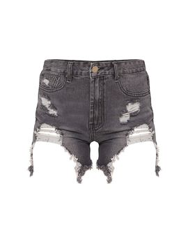 Black Heavy Distressed Denim Shorts by Prettylittlething