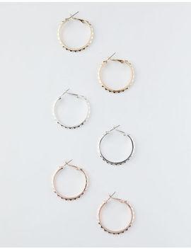 Full Tilt 3 Pairs Studded Hoop Earrings by Full Tilt