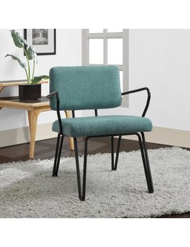 Palm Springs Aqua Blue Retro Upholstered Fabric Mid Century Accent Chair by Palm Springs