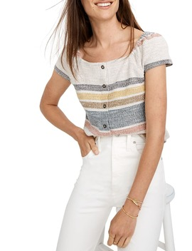 Texture & Thread Stripe Button Front Top by Madewell