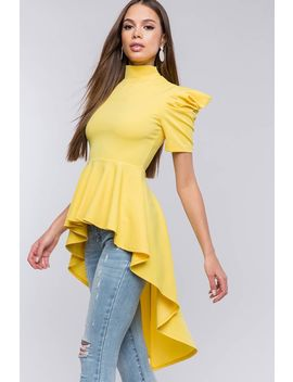 Puff Sleeve Hi Low Peplum Top by A'gaci