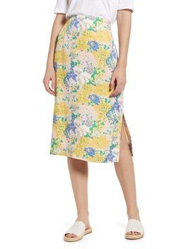 Lemon Floral Midi Slip Skirt by J.Crew