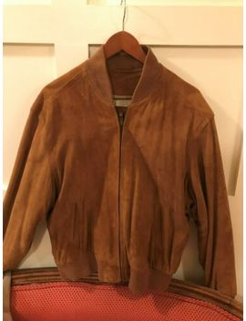 Coach Suede Leather Tan Brown Bomber Baseball Jacket Men's M by Coach