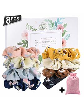 Seven Style 8 Pcs Colors Women's Chiffon Flower Hair Scrunchies Hair Bow Chiffon Ponytail Holder,Chiffon Hair Ties With Gift Box And Collection Bags(8... by Seven Style