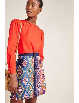 Embroidered Denim Mini Skirt by Manish Arora