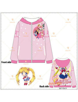 Anime Sailor Moon Tsukino Usagi Hooded Unisex Casual Zipper Coat Jackets #V13 by Unbranded