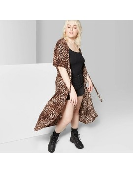 Women's Plus Size Animal Print Short Sleeve Kimono Jacket Tie Waist Duster   Wild Fable Brown by Wild Fable Brown