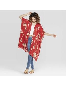 Women's Floral Print Short Sleeve Tassel Sleeve Midi Length Kimono   Xhilaration Red by Xhilaration Red