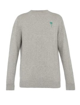Palm Tree Embroidered Cashmere Sweater by The Elder Statesman