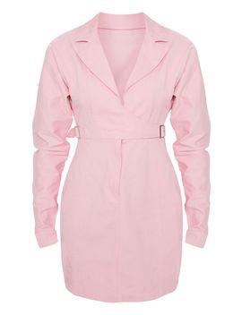 Dusty Pink Side Buckle Long Sleeve Denim Dress  by Prettylittlething