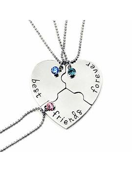 Sivite Best Friends Forever And Ever Necklace With Crystal Broken Heart Charm Pendant Set Friendship Necklace by Sivite