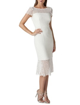 Fishnet Lace Sheath Dress by Kay Unger