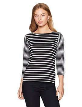 Ruby Rd. Women's Petite Size 3/4 Sleeve Printed Cotton Knit Top by Ruby Rd.