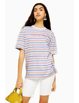 Just Be Nice Stripe T Shirt By Tee & Cake by Topshop