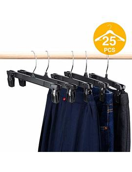 House Day Pants Hangers 25 Pcs 12inch Black Plastic Skirt Hangers With Non Slip Big Clips And 360 Swivel Hook, Durable Sturdy Plastic, Space Saving Shape, Elegant For Closet Organizing by House Day