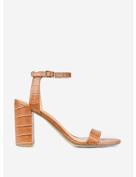 Tan 'Shimmer' Block Heel Sandals by Dorothy Perkins