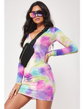 Rainbow Tie Dye Slinky Bodycon Mini Dress by Missguided