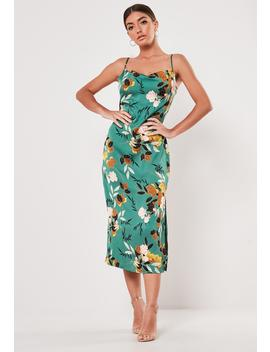 Green Floral Cowl Neck Midi Dress by Missguided