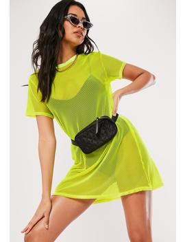 Yellow Oversized Fishnet T Shirt Dress by Missguided
