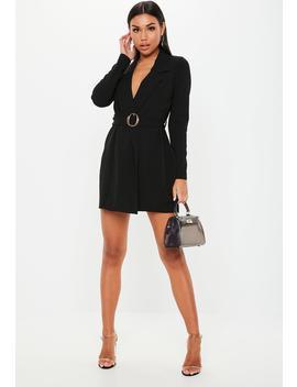 Black Tortoiseshell Belted Jersey Blazer Dress by Missguided