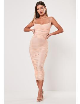 Nude Slinky Ruched Cowl Bodycon Midi Dress by Missguided