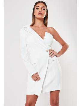 White One Shoulder Zip Front Blazer Dress by Missguided
