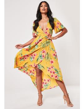 Mustard Tropical Print Wrap Midi Dress by Missguided