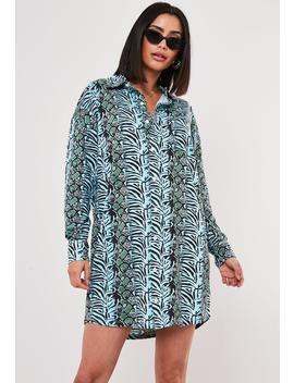 Blue Animal Jersey Shirt Dress by Missguided