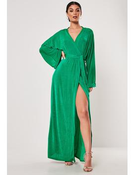 Green Slinky Belted Wrap Kimono Maxi Dress by Missguided
