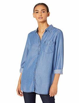 Daily Ritual Women's Tencel Long Sleeve Button Up Tunic by Daily Ritual
