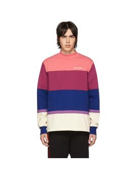 Purple Striped Monogram Mock Neck T Shirt by AimÉ Leon Dore