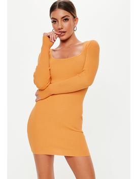 Orange Square Neck Long Sleeve Knitted Mini Dress by Missguided