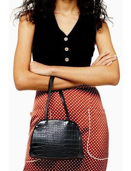 Shine Black Crocodile Mini Shoulder Bag by Topshop