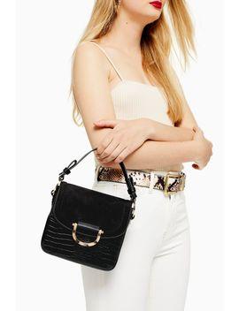 Carrie Black Crocodile Shoulder Bag by Topshop