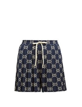 Pleated Gg Cotton Jacquard Shorts by Gucci
