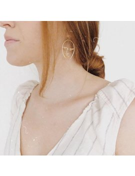 Minimal Portrait Face Earrings Stainless Steel Necklace | Abstract Style | Unique Portrait Dangle Earrings | Picasso Style Earrings by Etsy