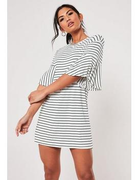 White Stripe Frill Sleeve T Shirt Dress by Missguided