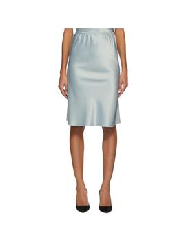Blue Satin Slip Skirt by Alexachung